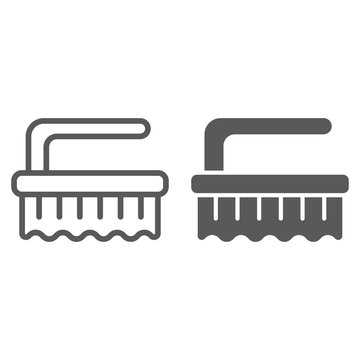 Brush line and glyph icon, clean and wash, scrub brush sign, vector graphics, a linear pattern on a white background.