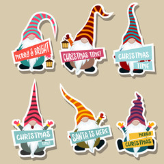 Christmas stickers collection with gnomes
