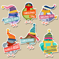 Christmas stickers collection with birds