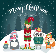 Christmas card with elf and wild animals