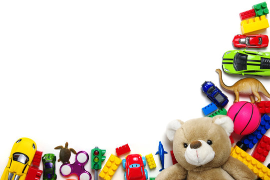 Kids toys frame on white background