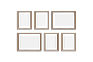 Frames collage, six blank wooden frameworks mock up