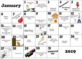 January Unusual Holidays and Quirky Events 2019