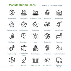 Manufacturing Icons - Outline styled icons, designed to 48 x 48 pixel grid. Editable stroke.