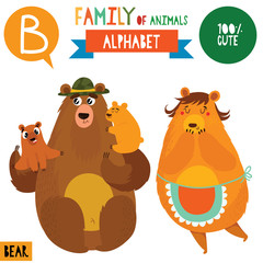 Letter B-Mega big set.Cute vector alphabet with family of animals in cartoon style.