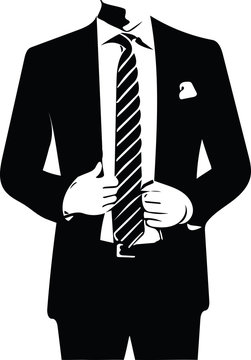 Drawing of elegant young fashion man in tuxedo posing