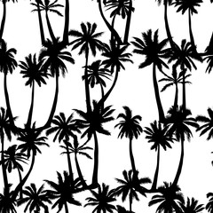 Palm tree pattern. Seamless hand drawn textures on exotic trendy background.