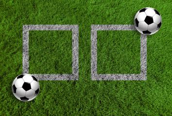 Piłka nożna na trawie jako panoramiczne tło