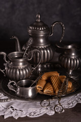 Old Antique Tin Set for coffee on gray background