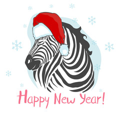 Graphical zebra in Santa Claus hat isolated on white background,vector new year illustration
