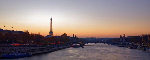 Paris, France - November 17, 2018: Alexandre 3 bridge and Eiffel tower at sunset in Paris
