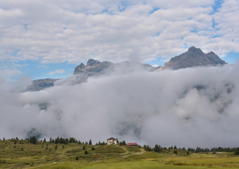 cloudy scene in swiss alps
