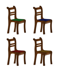 Set of realistic color stools