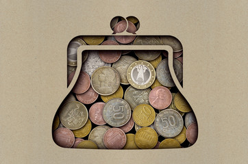 Coins under a sheet of paper with a cut out purse