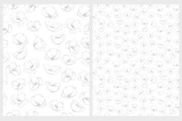 Delicate Floral Repeatable Vector Pattern. Light Gray Flowers on a White Background. Subtle Design. Lovely Hand Drawn  Illustration.