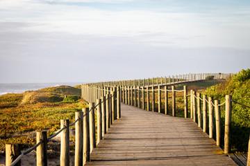 Empty Wooden Boardwalk Near the Sea