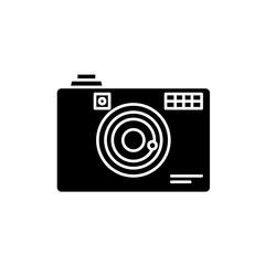 Digital camera black icon, concept vector sign on isolated background. Digital camera illustration, symbol