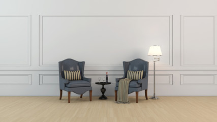 High resolution white wall front view two chair set illustration with wooden flooring.
