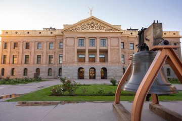 State House and Liberty Bell Front Lawn Arizona Capital Building Phoenix