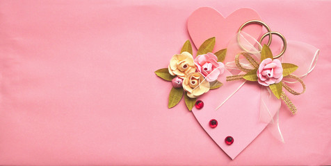 Pink wedding card background with heart