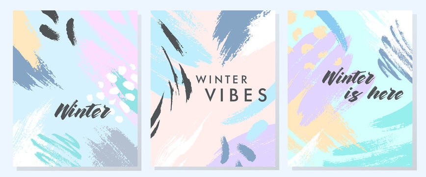 Unique artistic winter cards with hand drawn shapes and textures in soft pastel colors.Trendy graphic design perfect for prints,flyers,banners,invitations,special offer and more.Vector collages.