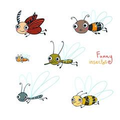Funny cartoon insect cartoon set. Vector illustration