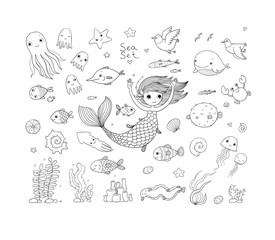 Marine illustrations set. Little cute cartoon mermaid