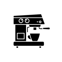Coffee machine black icon, concept vector sign on isolated background. Coffee machine illustration, symbol