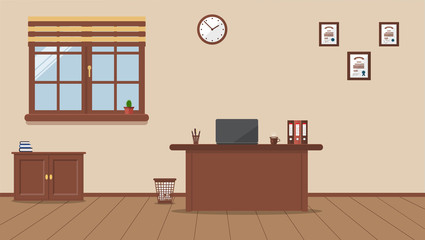 Workplace in the office on a cream background. Vector illustration. Table, clock, cactus, books,diplomas. Wooden plank floor. Ideal for advertising, website and magazine design