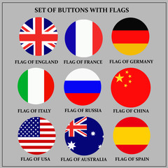 Bright set of banners with flags. Colorful illustration with flags of the world for web design.