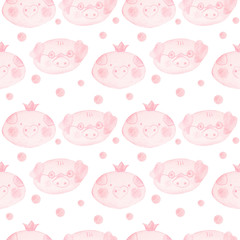 Seamless pattern with cartoon pigs. 2019 Chinese New Year of the Pig.