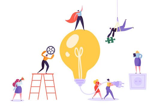 Creative idea brainstorming concept. Business characters working together with big light bulb. Searching for solutions, innovation. Vector illustration