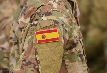 Flag of Spain on soldiers arm (collage).