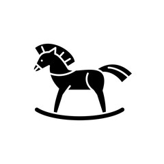 Baby horse black icon, concept vector sign on isolated background. Baby horse illustration, symbol