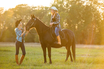 Girl equestrian rider stands near the horse. Girl equestrian rider riding a beautiful horse  in the rays of the setting sun. Horse theme