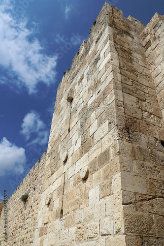 Old City exterior wall near Jaffa gate, old city of