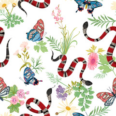 Coral snakes and tropical butterflies seamless Pattern. Snake fashion background for textile fabric, prints, wallpaper. Animal wildlife nature ornamental texture. Vector illustration