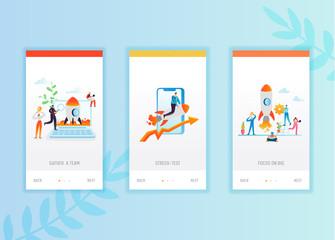 Business startup onboarding screens template. Business people characters launch rocket mobile app design. Innovation concept for mobile applications or website. Vector illustration