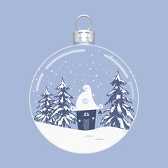 Winter landscape in a Christmas ball. There is a fabulous house, trees and snow in the picture. Vector illustration