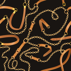 Fashion Seamless Pattern with Golden Chains and Belts. Fabric Design Background with Chain, Metallic accessories and Jewelry for Wallpapers, Prints. Vector illustration