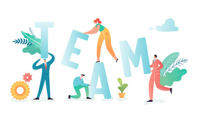 Teamwork concept. Business people characters team working together, project process. Partnership, communication office workers. Vector illustration