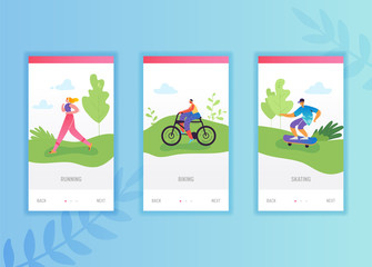 Active people sports onboarding screens template. Man riding bicycle and running woman characters for mobile app design website or web page. Vector illustration
