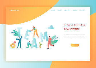 Teamwork, Business Solutions Landing Page Template. Business People Characters Team Working on Creative Project for Website or Web Page. Vector illustration