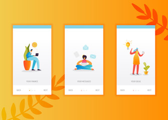 Social networking onboarding screens template. People characters using smartphone and laptop for social media for mobile app design or website. Vector illustration