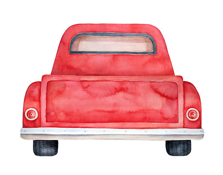 Back view of red retro pickup. Creative background for any text message, invitation, greeting card, poster, personalized print. Hand painted water color illustration, isolated element for design.