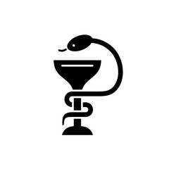 Bowl with a snake black icon, concept vector sign on isolated background. Bowl with a snake illustration, symbol