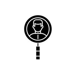 Search for colleagues black icon, concept vector sign on isolated background. Search for colleagues illustration, symbol