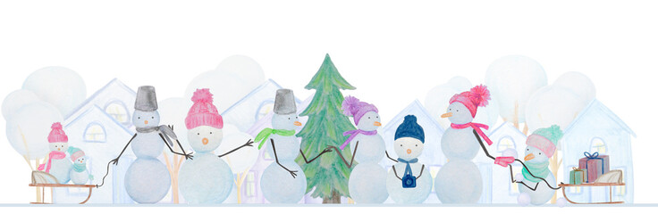 Winter composition of snowmen drawn with colored watercolor pencils
