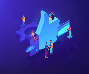Social media marketing managers and specialist working and thumb up. Social media marketing, social customer care, SMM for business growth concept. Ultraviolet neon vector isometric 3D illustration.
