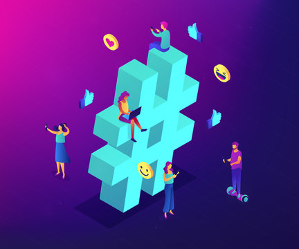 Business people at huge hashtag send and share posts and social media. Social listening tools, engaging content, hashtag tracking concept. Ultraviolet neon vector isometric 3D illustration.